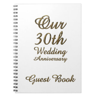 30th Wedding Anniversary Guest Book Gold White