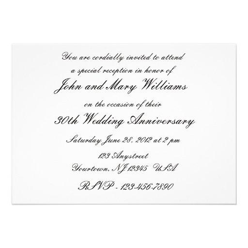 30th Wedding Anniversary Invitation (back side)