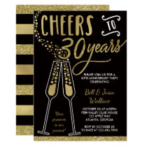 30th Wedding Anniversary Invitation, Faux Glitter Invitation