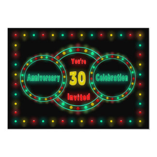 30th WEDDING ANNIVERSARY INVITATION - NEON LIGHTS