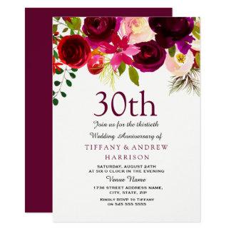 30th Wedding Anniversary Invite Burgundy Flowers