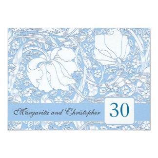 30th wedding anniversary light blue invitations