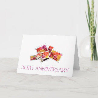 30th Wedding Anniversary mixed rose bouquet Card