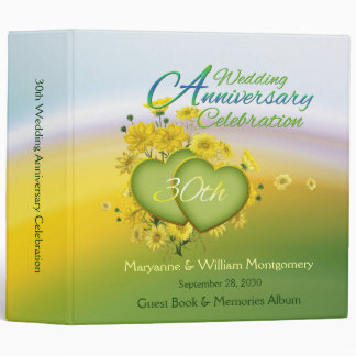 30th Wedding Anniversary Party Guest Book 2 Inch Binder