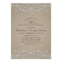 30th Wedding Anniversary Party Rustic Pearl Lace Card