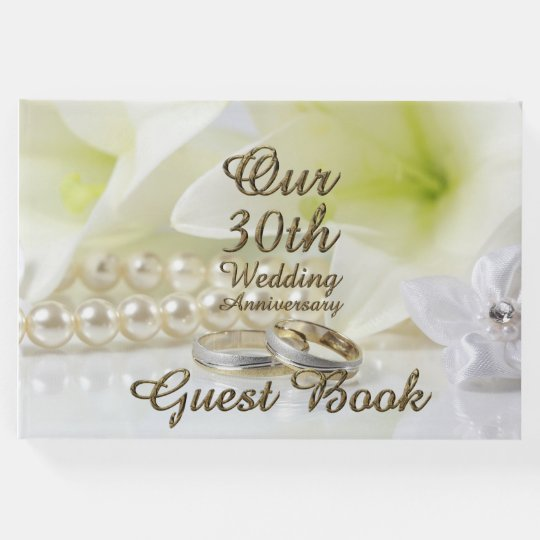 30th Wedding Anniversary Dress: 30th Wedding Anniversary Pearl Gold Typography Guest Book