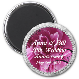 30th, wedding anniversary Pearls & Pink Floral Swi 2 Inch Round Magnet