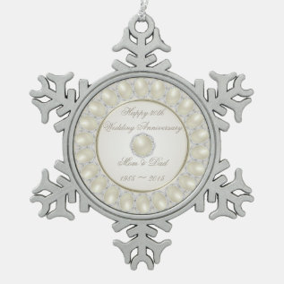 30th Wedding Anniversary Pewter Snowflake Ornament at Zazzle