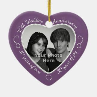 30th Wedding Anniversary Photo Ceramic Ornament