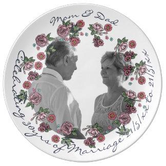 30th Wedding Anniversary PHOTO Commemorative Named Dinner Plate