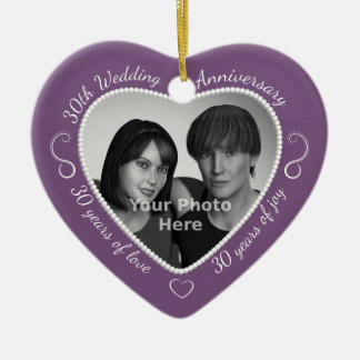 30th Wedding Anniversary Photo Double-Sided Heart Ceramic Christmas Ornament