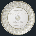 "30th Wedding Anniversary Porcelain Plate<br><div class=""desc"">A Digitalbcon Images Design featuring a satin pearl color theme with a variety of custom images, shapes, patterns, styles and fonts in this one-of-a-kind &quot;Pearl Wedding Anniversary&quot; Porcelain Plate. This elegant and attractive design makes the perfect Anniversary gift for the Anniversary couple or as a complete dinner set and comes...</div>"