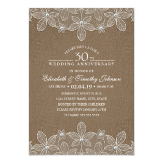 30th Wedding Anniversary Rustic Dark Burlap Lace Invitation
