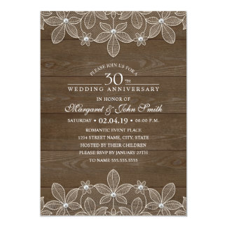 30th Wedding Anniversary Rustic Wood Country Lace Invitation