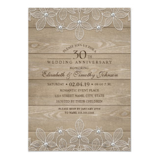 30th Wedding Anniversary Rustic Wood Vintage Lace Invitation