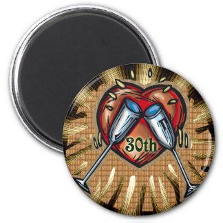 30th wedding anniversary square 2 inch round magnet
