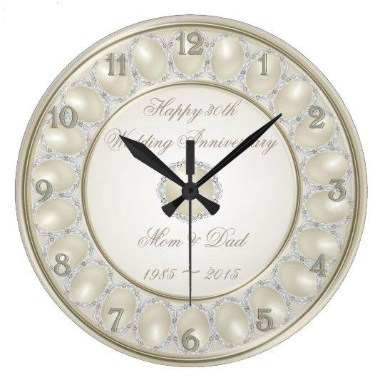 30th Wedding Anniversary Wall Clock Zazzle