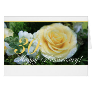 30th Wedding Anniversary - Yellow Rose Greeting Card