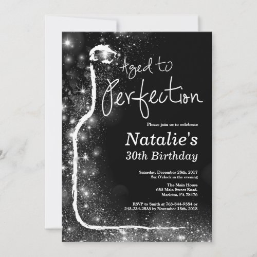 30th Wine Birthday Invitation Aged to Perfection Invitation