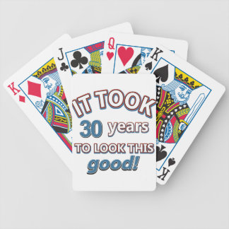 30th year birthday designs bicycle playing cards