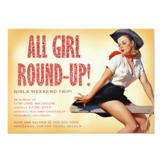 311 All Girl Round-up Cowgirl Pinup Girl Sparkle Card