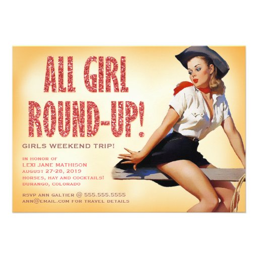 311 All Girl Round-up Cowgirl Pinup Girl Sparkle Custom Invite