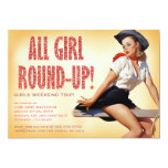 311 All Girl Round-up Cowgirl Pinup Girl Sparkle 5x7 Paper Invitation Card