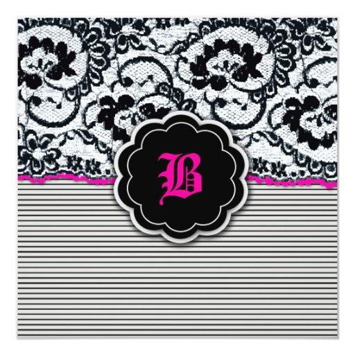 311-Alluring cordón - rosas fuertes Invitación 13,3 Cm X 13,3cm