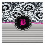 "311-Alluring Lace - Hot Pink 5.25"" Square Invitation Card"