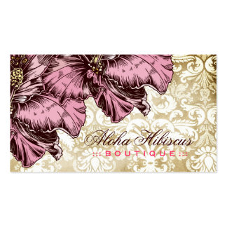 311-Aloha Hibiscus Vintage Damask Double-Sided Standard Business Cards (Pack Of 100)