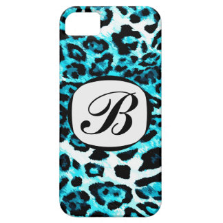 311 Aqua Blue Leopard Initial iPhone Cover