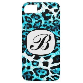 311 Aqua Blue Leopard Initial iPhone Cover iPhone 5 Case