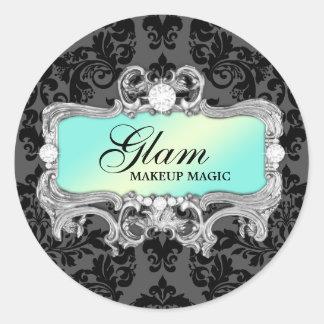 311 Aqua Glam Crazy Sticker Black Damask