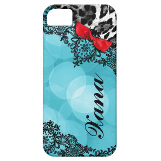 311 Aqua Red Leopard Dream in Lights Lace faux bow iPhone SE/5/5s Case