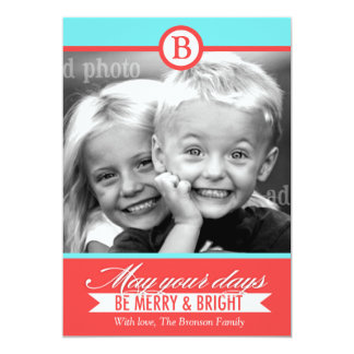 311 Aqua Red Merry & Bright Holiday Card