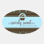 311 Baby Blue Swirly Sweet Oval Sticker