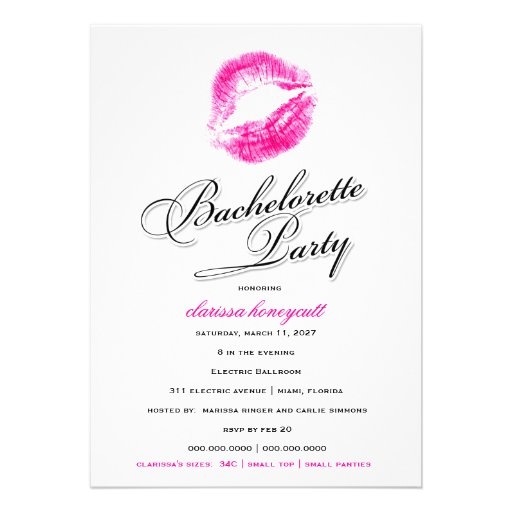 311-Bachelorette Party - Pink Kisses Personalized Invitations