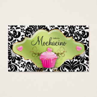 311 Bakery Business Card Cupcake Gold Swirls Lime