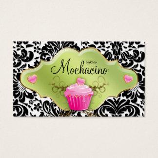 311 Bakery Business Card Cupcake Gold Swirls Lime