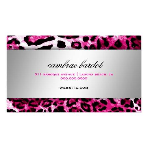 311 Baroque Boutique Hot Pink Leopard Business Card Templates (back side)