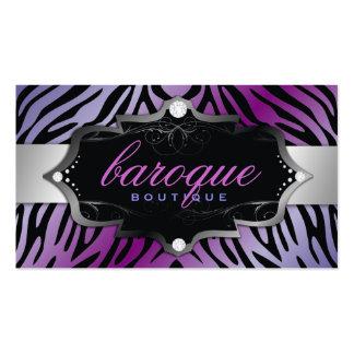 311 Baroque Boutique Purple Flirt Zebra Business Cards