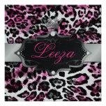 311-Baroque princesa Black Pink Leopard Metallic Invitación Personalizada