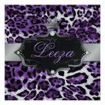 311-Baroque princesa Purple Leopard Metallic Invitación