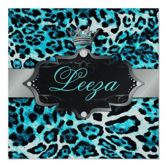 311 Baroque Princess Turquoise Leopard Metallic Card