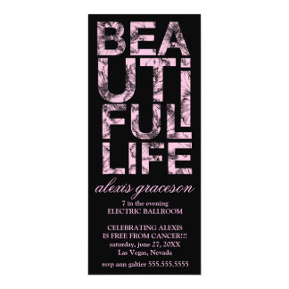311 Beautiful Life Cancer Free Party 4x9.25 Paper Invitation Card