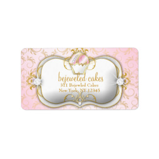 311-Bejeweled Cakes | Pink Background Label