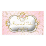 311 Bejeweled Cakes Pink Gold Damask Business Card Templates