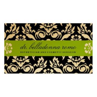 311 Belladonna Damask Golden Lime Business Cards