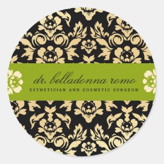 311 Belladonna Damask Lime Classic Round Sticker