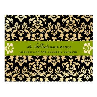 311-Belladonna Damask Lime Postcard